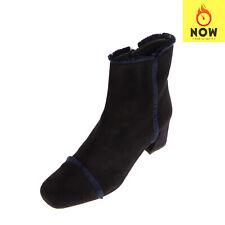 RRP €645 STUART WEITZMAN Leather Ankle Boots EU 41 UK 8 US 10 Heel Fringe Trim