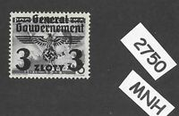 MNH stamp 3 ZL 1940 Overprint Third Reich Germany General Government Poland WWII