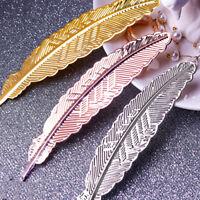 LN_ Vintage Metal Leaf Feather Shape Nail Art Photo Prop Fake Tip Display Stan