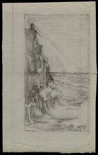 Dessin du XIXe siècle et avant en paysage marin, bateau
