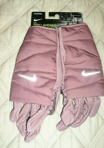 NWT NIKE Dry Layered Running Gloves with Dri-Fit Tech and Touchscreen Finger L