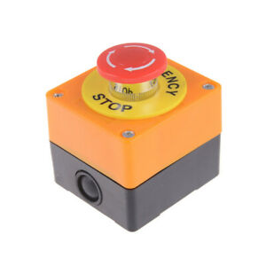 Red Sign Mushroom Emergency Stop Push Button Switch Station 1 NO 1 NC