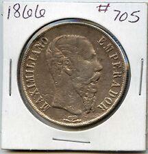 1866 Mexico Empire of Maximilian Silver 1 Peso. Lot #300