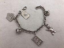 """Sterling Silver .925 Las Vegas 7mm Rolo Link 7"""" Charm Bracelet"""