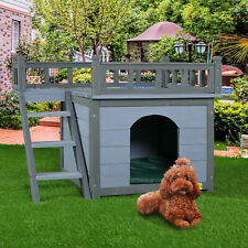 2-Story Wooden Dog house Gray Weather Resistant Pet Shelter w/ Climbable Stairs