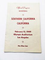 Authentic Rare Vintage 1949 USC Berkley Official Basketball Program Score Card