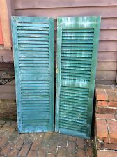2 Same Green Vintage Architectural Farmhouse Wood Shutters. Good