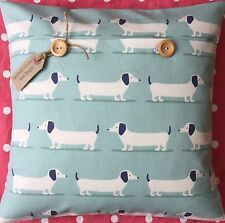 """Sausage Dogs"" handmade fabric cushion cover (dachshund/Daxi/Dog) duckegg"