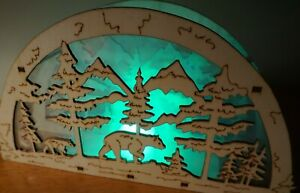 LED LIGHTED BEAR & CUB SCULPTURE SIGN Wood Forest Rustic Lodge Cabin Home Decor