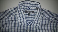 Kenneth Cole Reaction Large Slim Fit No Iron Blue Plaid Button Front Dress Shirt