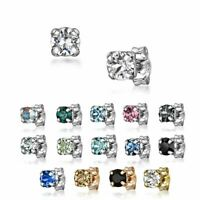 Amberta Sterling Silver Square Earrings for Women Studs with Swarovski Crystals