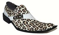 Mens Shoes European Leather Crinkle Design Zota  3D Toe Buckle G838-103 Leopard