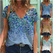 Summer Women Casual Loose T-shirt V-neck Regular Blouse Short-sleeve Floral Top