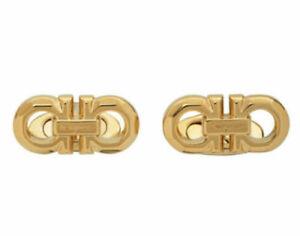 Authentic Salvatore Ferragamo Men's Gold Double Gancini Cufflinks RRP £255