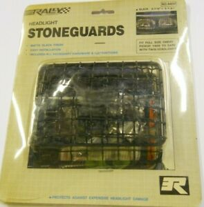 "BLACK Stone Guard Headlight Covers - 3-7/8"" x 5-1/4"" 1988-Up Chevy Truck"