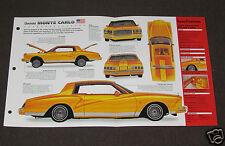 1979 CHEVROLET MONTE CARLO CUSTOM Car SPEC SHEET BOOKLET PHOTO BROCHURE
