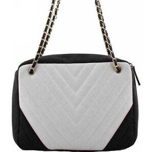 Women's Mono Fashion Black & white Handbag Gold Chain Ladies Party Bag
