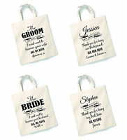 Personalised Wedding Day Gift Tote Bag Groom Bride Best Man Bridesmaid Usher