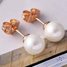 Shell Rose Gold Filled Earrings Round Pearl Women's Hoop Ear Stud Wedding