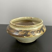 Vintage MCM Stoneware Pottery Vase Planter Speckled Glaze Brown Signed Bohemian