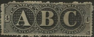 RS 58d--RC&CS CLARK 4 CENT MATCH AND MEDICINE STAMP--74