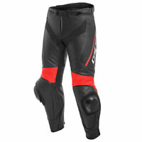 Dainese Delta 3 Motorcycle Bike Leather Pants Black / Black / Fluo Red
