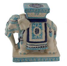 Elefant Tierfigur Dekofigur Figur Keramik Teelicht Ständer blau weiss Diele 20cm
