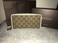 100% Authentic Gucci Brown Long Beige Wallet With Box And Shopping Bag