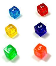 6er Set/ 6 Seitige Würfel mit Zahlen /D6/W6/farbig transparent Bunt/Ziffern 1-6