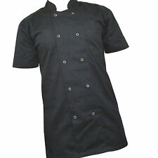 More details for chef jacket short sleeve unisex chefs jacket black chefwear excellent quality.