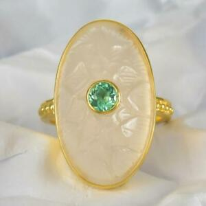 Ring US size 5 Gold Vermeil Sterling White Chalcedony Apatite Lotus 6.72 g