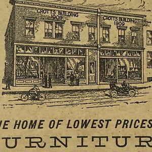 1914 W O Crotts Furniture Winston Salem NC North Carolina Advertising