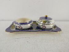 More details for vintage maling 6526 springtime lidded dish&tray/platter&dish/bowl blue floral g5