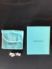 Tiffany & Co Sterling Silver + Black Onyx Bow Brooch with pouch and box.