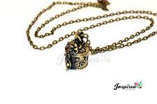 Bronce Antiguo Relicario Caja de la píldora Collar Cadena Valentine Vintage joyas Retro