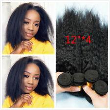 Kinky Straight Human Hair 4 Bundles Yaki Straight Brazilian Short Bob Human Hair