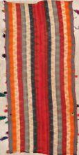 Antique Striped Tribal Kilim Jajim Shiiraz Hand-Woven 4'x8' Runner Rug