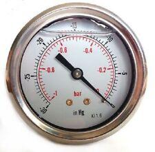 Vacuum Gauges Stainless Steel case Glycerine filled 63mm -1/0 Bar &-30*Hg 63 100