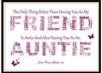 FRIEND AUNTIE AUNT Christmas Gift Birthday Personalised Word Art Present A4