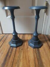 "Pottery Barn Black Cast Iron 12"" Pillar Holders (set of 2)"