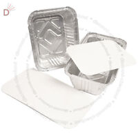 No2 & 6A ALUMINIUM FOIL FOOD CONTAINERS LIDS PERFECT FOR HOME TAKEAWAY USE