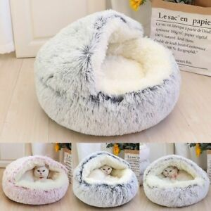 Dog Bed Warm Soft Plush Round House Cushion Removable Cover Pet Sleeping Bag