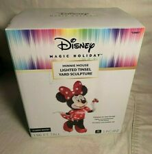 Disney MINNIE MOUSE Christmas Holiday LIGHTED TINSEL Yard Sculpture DECOR Mickey