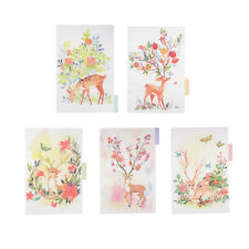 5x Deer Style Plastic A5 Tabbed Paper Planner Notebook Divider Index Page 1