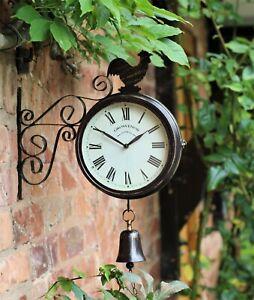 Garden Wall Station Clock Ornament double sided Bracket Rust Copper Effect