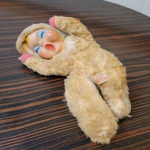 """Vintage Coronet Rubber Face Sleeping Baby Doll Plush Stuffed Toy Faux Fur 12"""""""