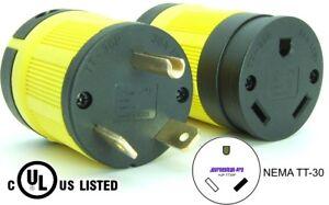 RV Power 125 Volt 30 amp TT-30 Plug Connector Set TT-30P TT-30R 110 120 Trailer