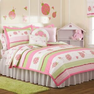 CRAZY PINK LADYBUG Full / Queen QUILT SET : GIRLS PINK GREEN LADY BUG GARDEN BED