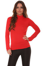 SOUS PULL Femme Stretch Col montant ROUGE Taille Unique - manches longues .