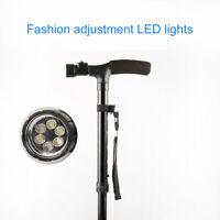 Foldable LED Walking Cane Safety Walking Stick 4 Head Pivoting Anti-vibration